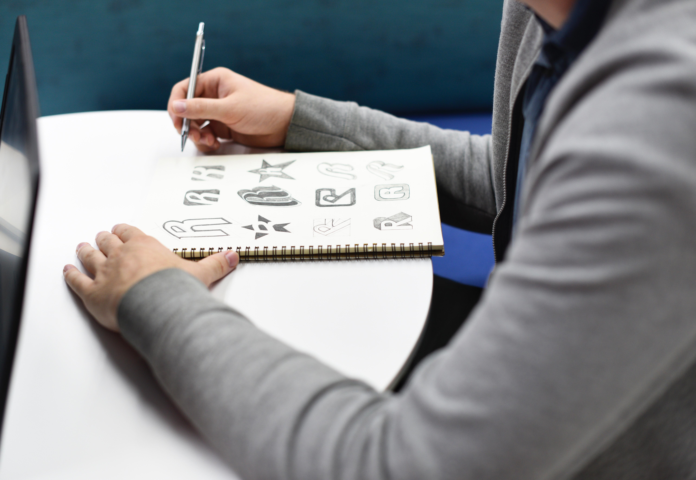 sketching in notebook