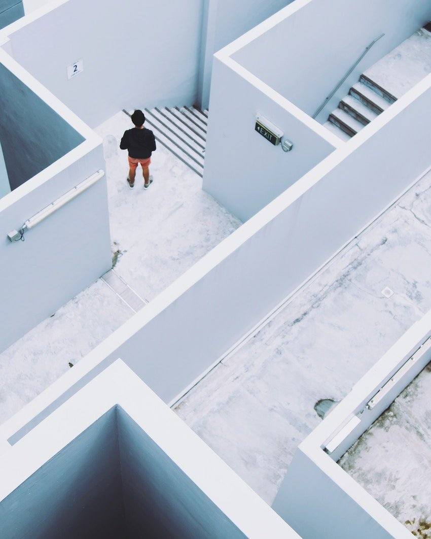 man lost in maze
