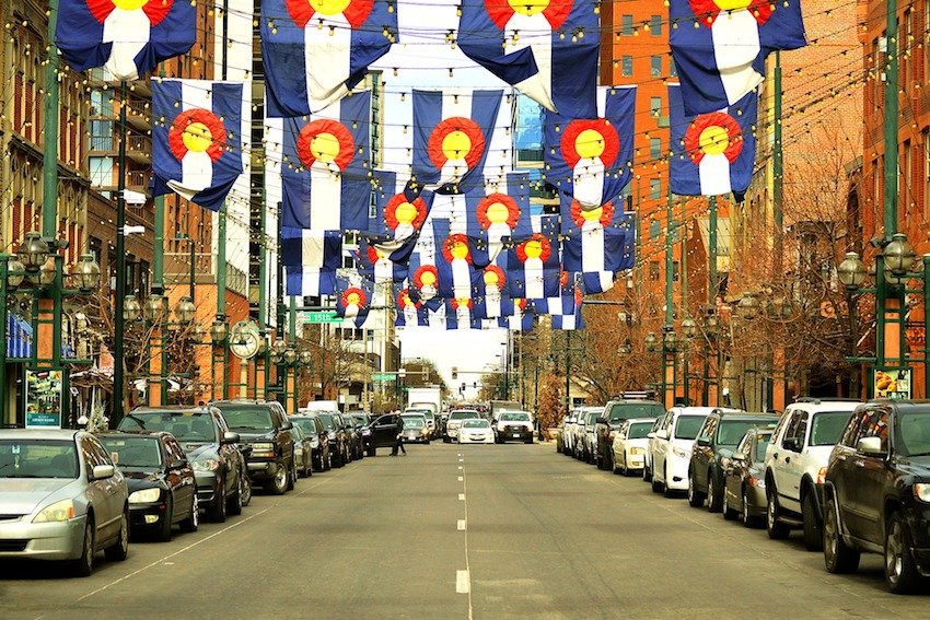 colorado flags hanging in larimer square of denver colorado