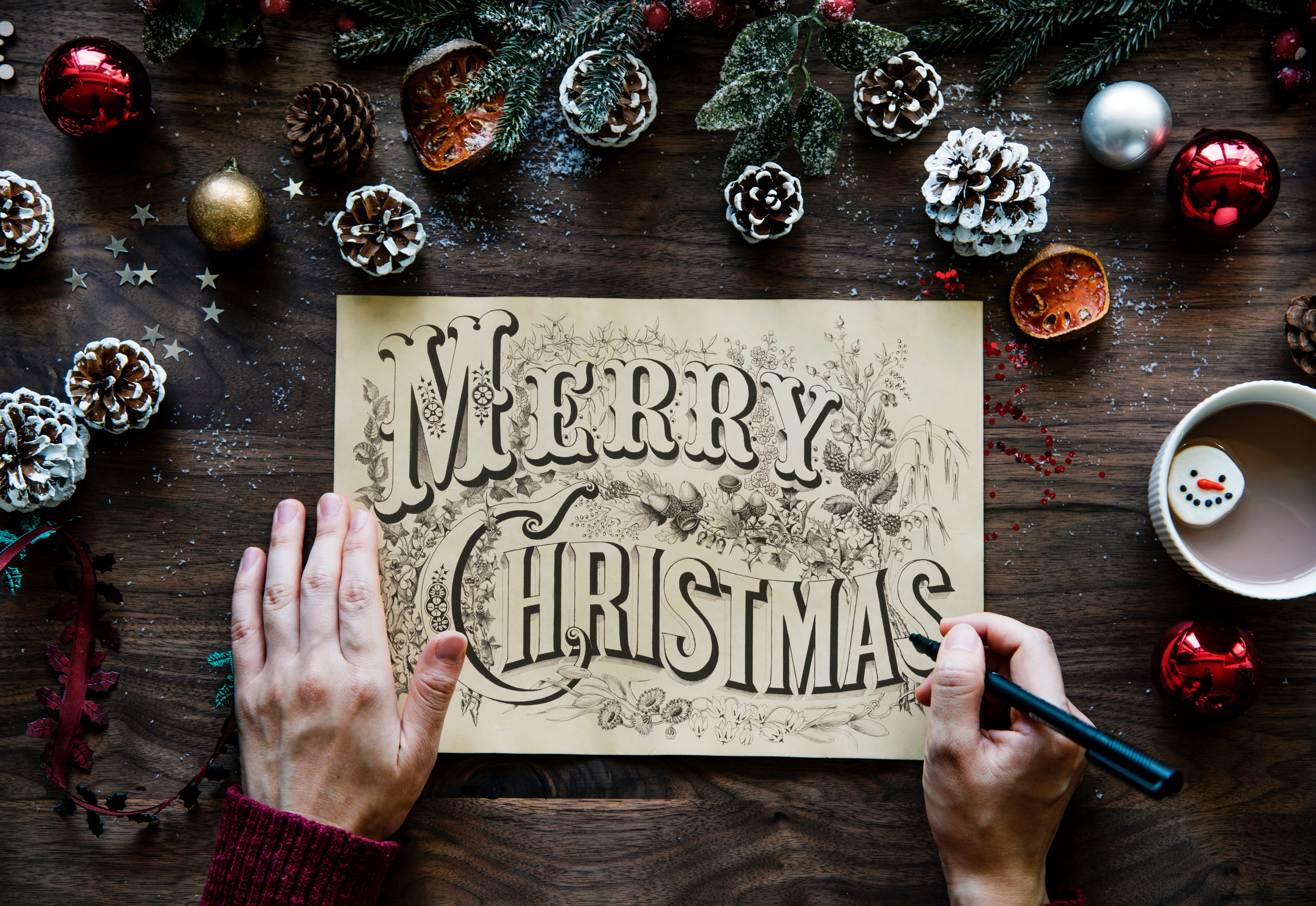handwritten christmas card