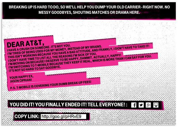 T Mobile breakup letter ad