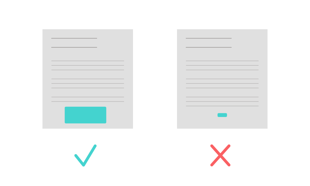 two different cta buttons compared with different size buttons