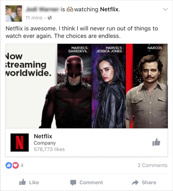 facebook status about watching netflix