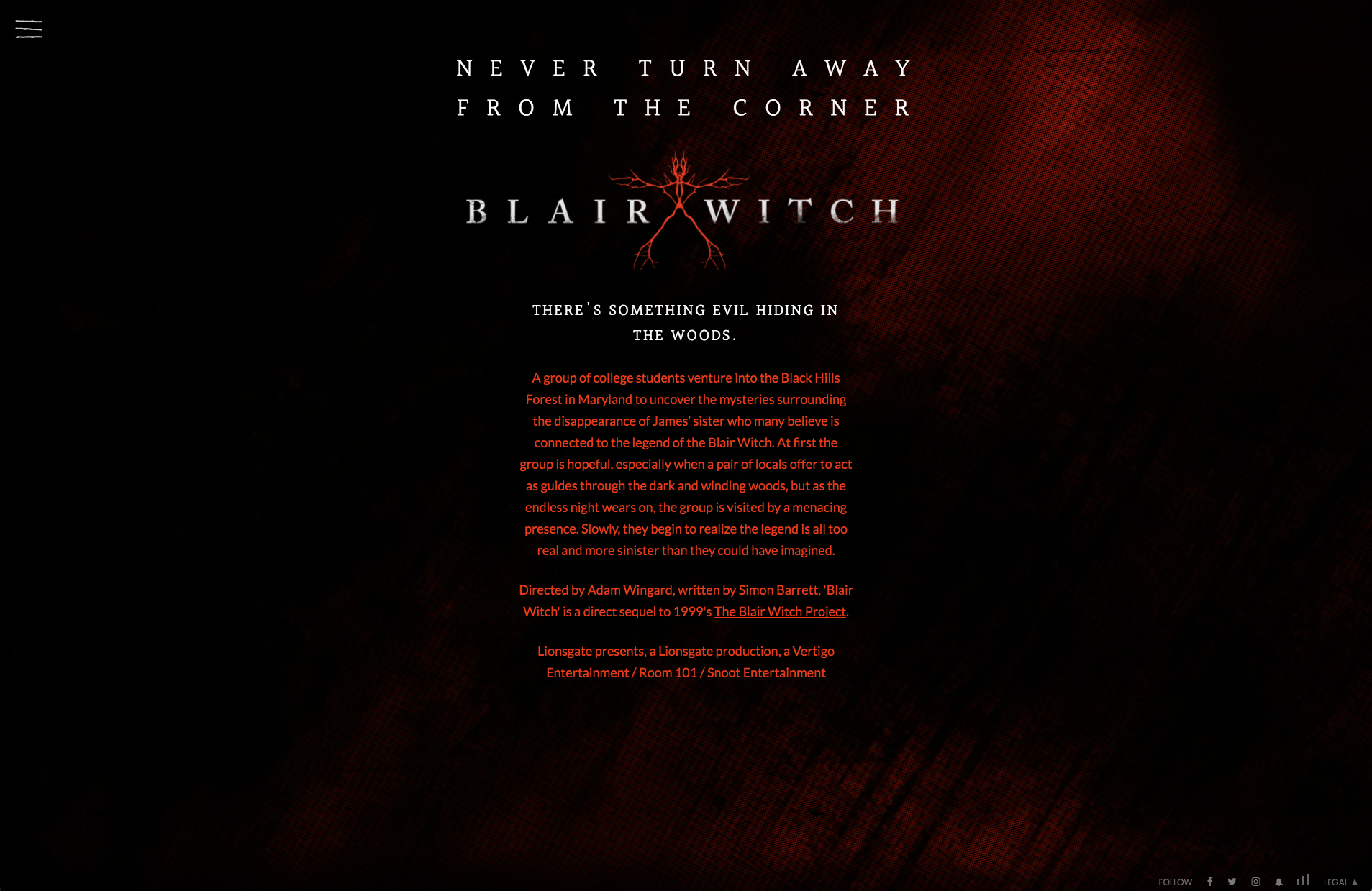 story of blair witch project landing page
