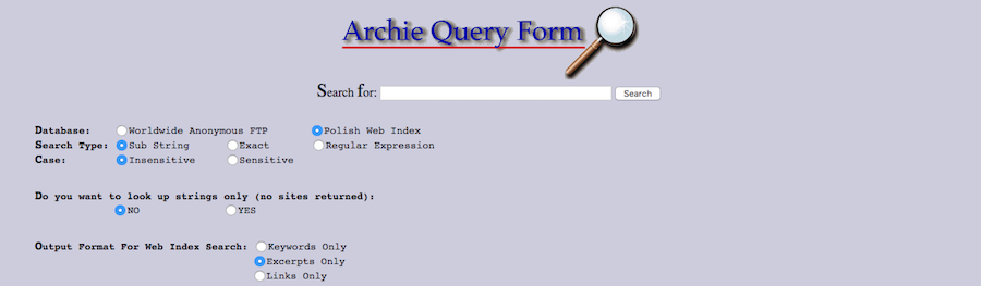 screenshot of search engine archie