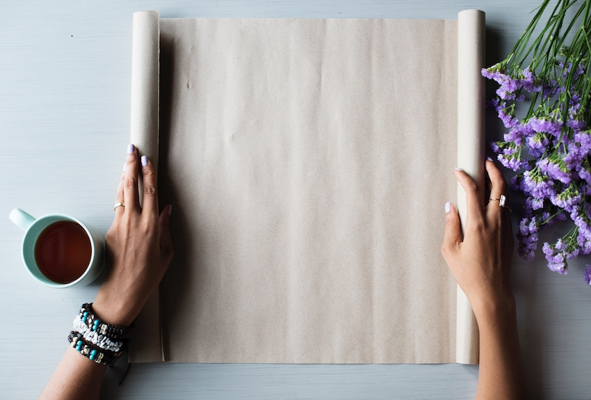 woman with blank canvas