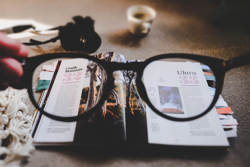 glasses in front of book