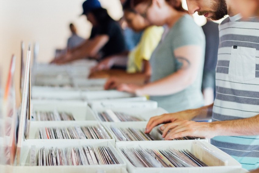 people browsing records at record store