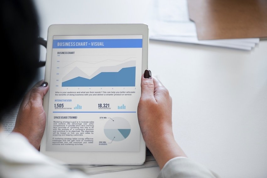 woman holding business website report