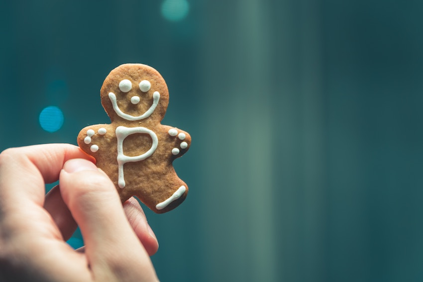 gingerbread man cookie with a P